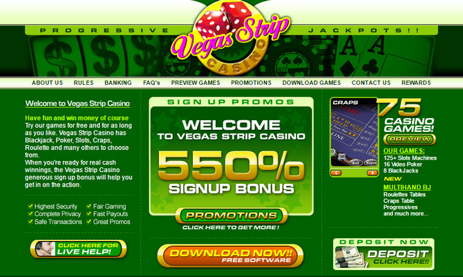 vegas strip online casino no deposit codes