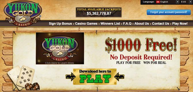 Yukon Gold Casino Бездепозитный Бонус